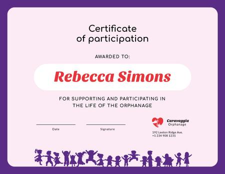 Charity Orphanage life participation gratitude Certificateデザインテンプレート