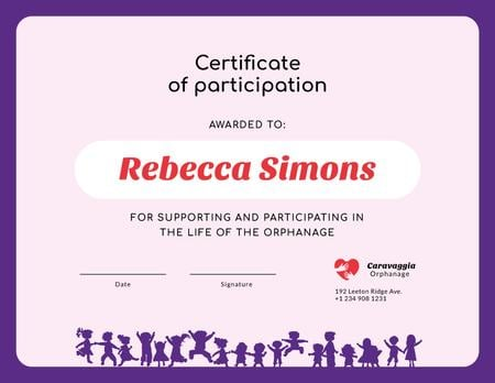 Charity Orphanage life participation gratitude Certificate Modelo de Design