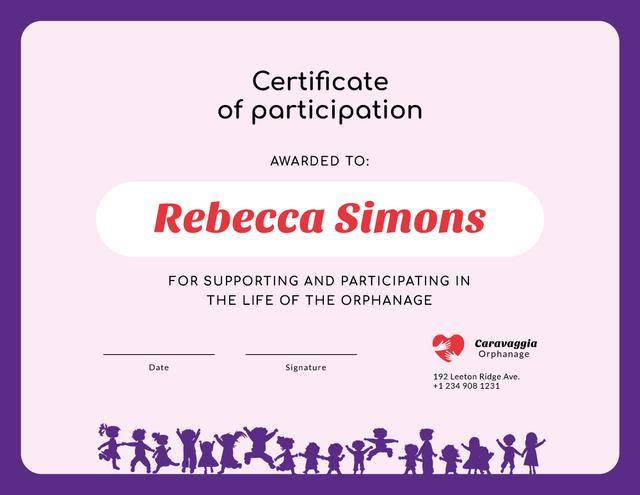 Charity Orphanage life participation gratitude Certificate Design Template