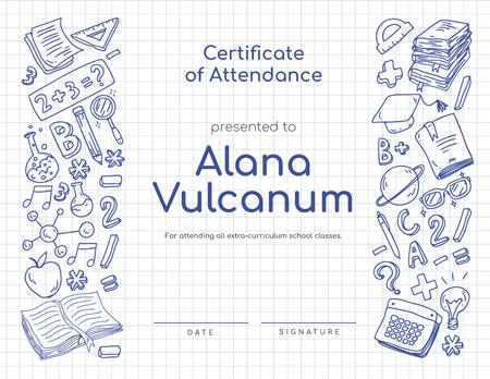 Plantilla de diseño de School Courses Attendance confirmation with science icons Certificate