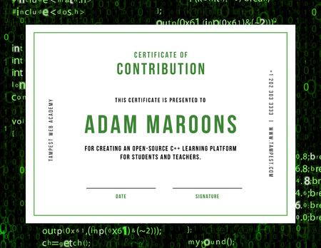 Template di design Online Learning Platform Contribution gratitude Certificate