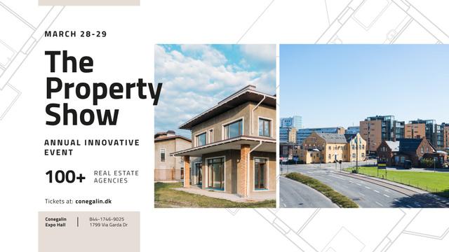 Plantilla de diseño de Real Estate Event announcement with Town Buildings FB event cover