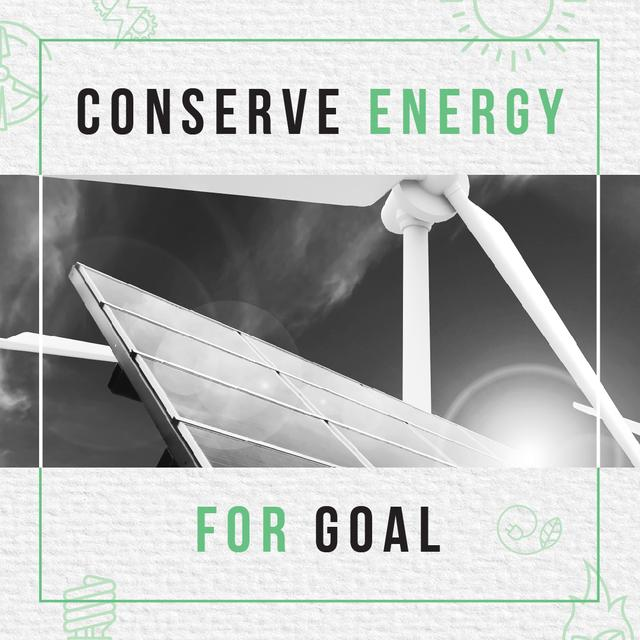 Wind Turbines and Solar Panels Instagram AD Modelo de Design