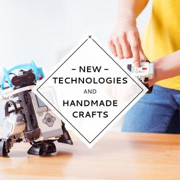 New technologies and handmade crafts poster