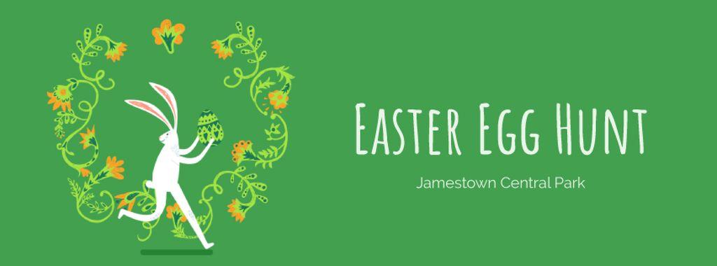 Easter bunny running with colored egg — Создать дизайн
