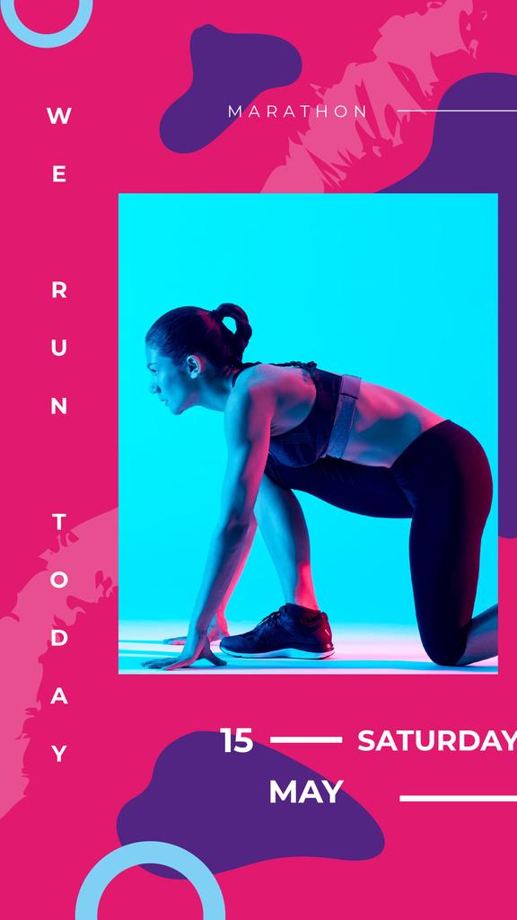 Woman runner at the start — Create a Design