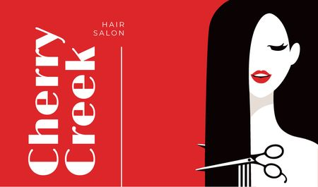 Plantilla de diseño de Woman cutting her hair Business card
