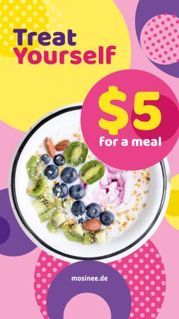 Healthy Breakfast Meal with Cereals and Berries Instagram Story Design Template
