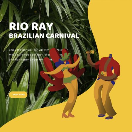 Plantilla de diseño de People dancing at Rio carnival Animated Post