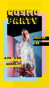 Party Invitation Girl in Raincoat with Disco Ball
