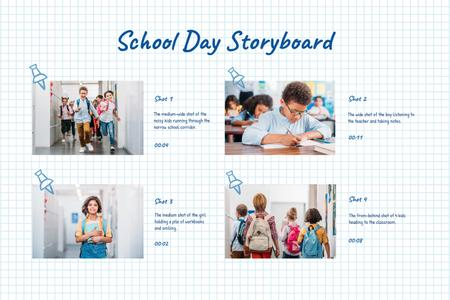 Plantilla de diseño de Happy Kids at School Storyboard