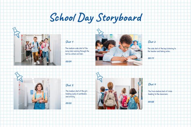 Happy Kids at School Storyboard Design Template