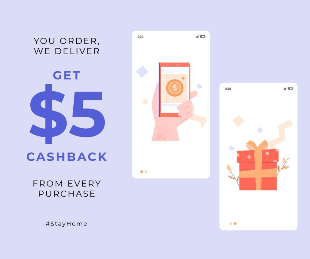 #StayHome Cashback services Screens with gifts —デザインを作成する