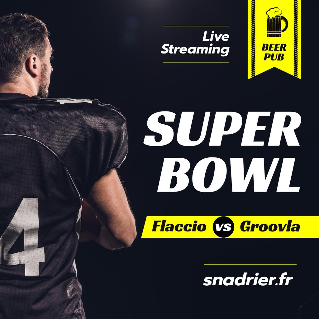 Super Bowl Match Streaming Player in Uniform Instagram Design Template