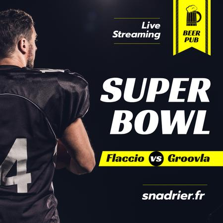 Super Bowl Match Streaming Player in Uniform Instagramデザインテンプレート