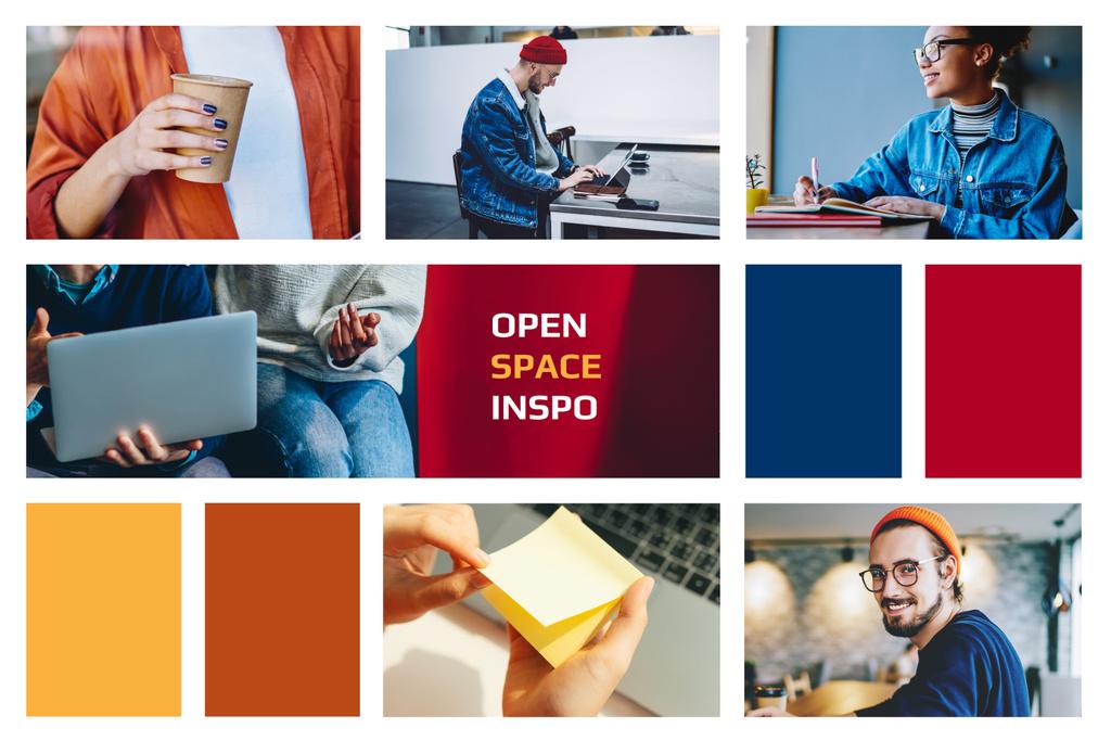 People in Colorful Coworking Space Mood Board – шаблон для дизайну