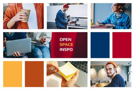 Designvorlage People in Colorful Coworking Space für Mood Board