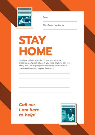 Stay Home awareness with Notice for Elder people Poster Design Template