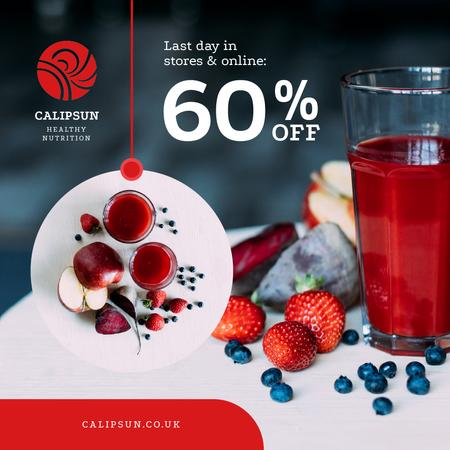 Plantilla de diseño de Healthy Nutrition Offer with Glass of Juice Animated Post