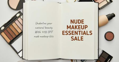 Modèle de visuel Beauty Sale with Makeup products and notebook - Facebook AD