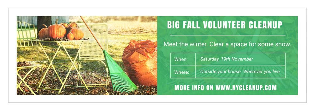 Volunteer Cleanup Announcement Autumn Garden with Pumpkins — Crea un design