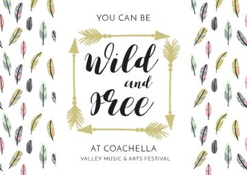 Coachella Festival Invitation Feathers and Arrows | Postcard Template