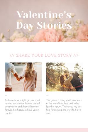 Valentine's Day Stories with Loving Couple Pinterest Tasarım Şablonu