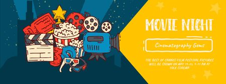 Designvorlage Movie Night invitation Cinema attributes für Facebook Video cover