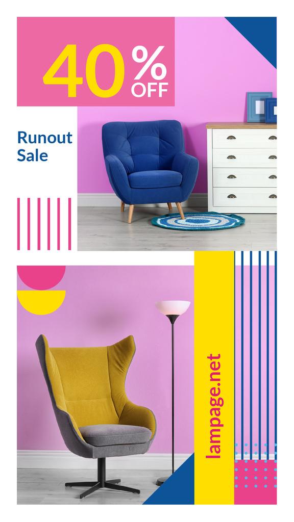 Furniture Sale Armchair in Colorful Interior — ein Design erstellen