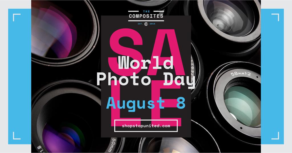Ontwerpsjabloon van Facebook AD van Photo Day Event Announcement Camera Lenses
