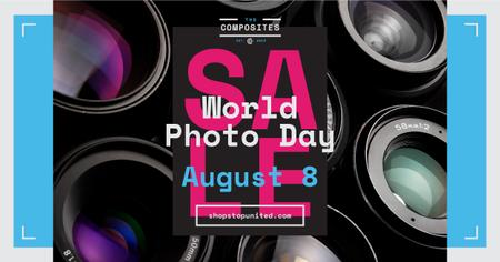 Photo Day Event Announcement Camera Lenses Facebook AD Modelo de Design