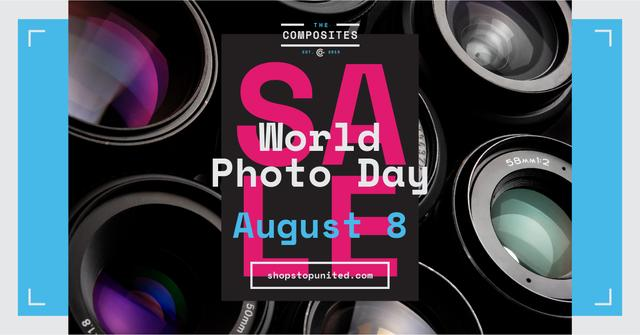 Plantilla de diseño de Photo Day Event Announcement Camera Lenses Facebook AD