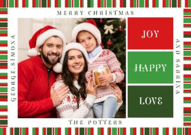 Merry Christmas Greeting Family with Presents Postcard Design Template