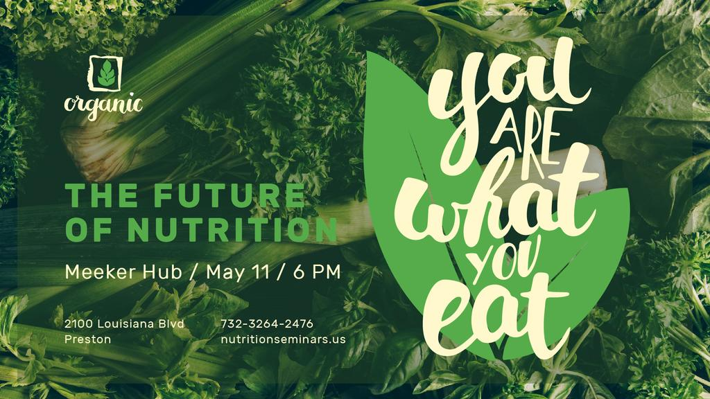 Nutrition Lecture announcement with Green Food — Crear un diseño