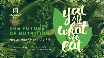 Nutrition Lecture Announcement Healthy Green Food | Facebook Event Cover Template
