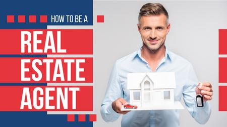 Real Estate Tips Agents Holding House Model Youtube Thumbnail Design Template