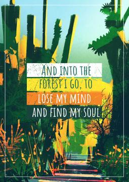 Motivational quote with Tropical Forest
