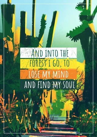 Motivational quote with Tropical Forest Poster Modelo de Design