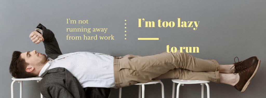 Plantilla de diseño de Man not running away from hard work Facebook cover