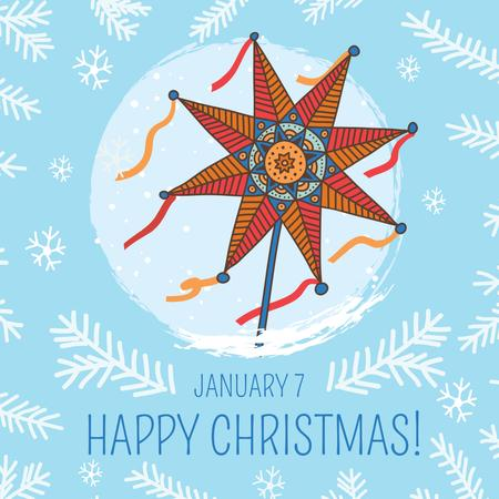 Plantilla de diseño de Happy Christmas greeting with Star Instagram AD