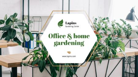 Gardening Center Ad with Plants in Modern Office Presentation Wide Modelo de Design