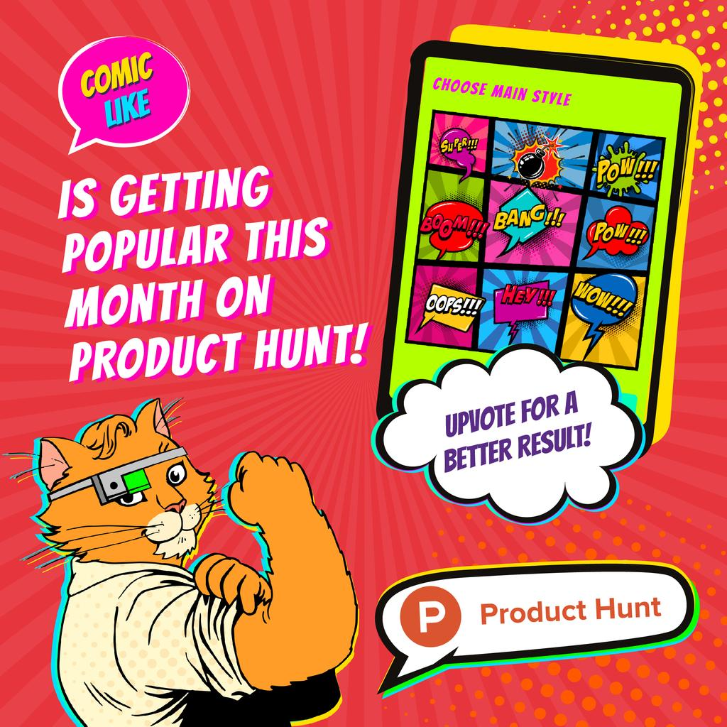 Product Hunt Campaign App Interface on Screen | Instagram Post Template — Створити дизайн