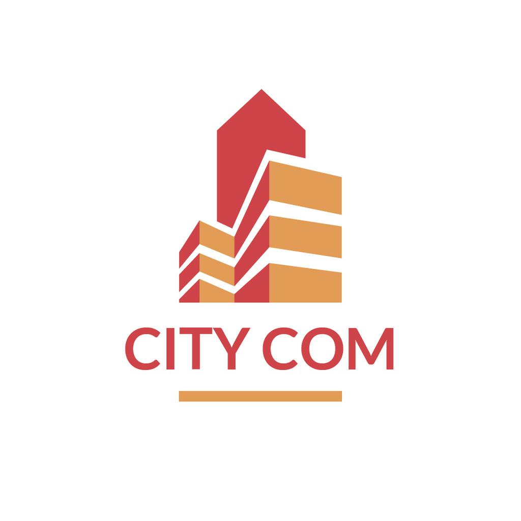 Real Estate Building Icon in Red — ein Design erstellen