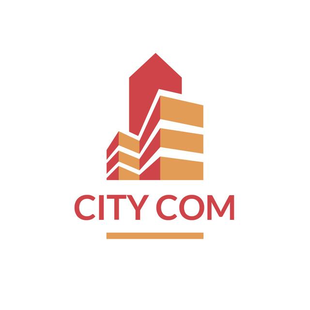 Plantilla de diseño de Real Estate Building Icon in Red Logo