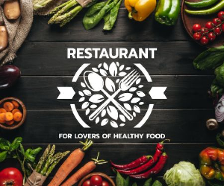 restaurant for lovers of healthy food poster Medium Rectangle Tasarım Şablonu