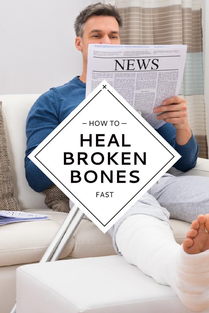 Man with broken bones sitting on sofa reading newspaper — Создать дизайн
