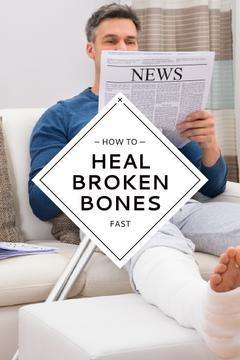 Man with broken bones sitting on sofa