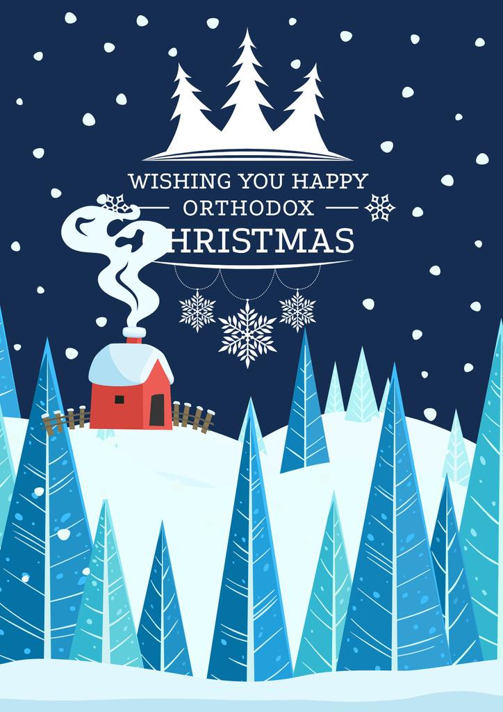 Christmas Greeting with Snowy House — Modelo de projeto