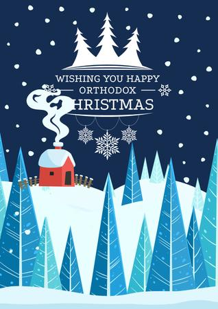 Christmas Greeting with Snowy House Poster Modelo de Design