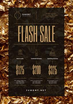 Clothes Store Sale with Golden Shiny Background